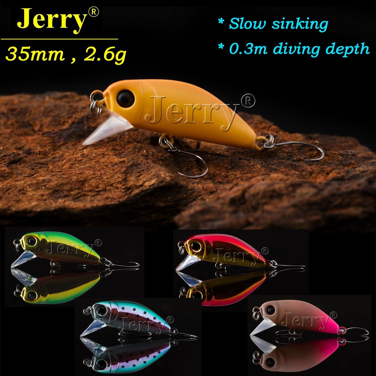 Jerry 1 pc 35mm 2.6g truite leurres crankbait pêche en eau douce appât ultra lumière micro dur leurres lent naufrage wobbler