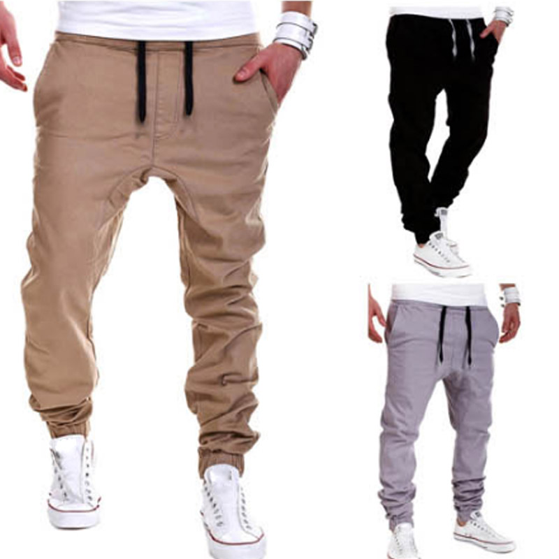 Hot Men's Pants Solid Color Elastic Cross Sweatpants Breathable Casual Thin Boy Trousers Long Pants  HD88