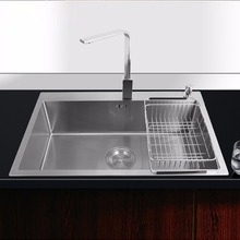 Luxury SUS304 stainless steel hand polished kitchen sink, single bowl, 4.0mmThickness, Three-layer brushed, no gap laser welded