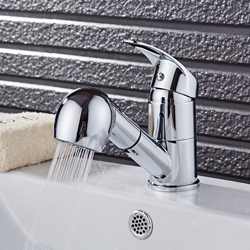 Free Shipping new arrival pull out basin faucet chrome finished bathroom sink faucet with shower head wash basin mixer tap