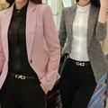 2017 Magro Mulheres Trabalho de Escritório Senhora Outwear Negócio Casual Sólidos Tops Casaco Blazer de Manga Comprida Verde/Rosa/Cinza jaqueta