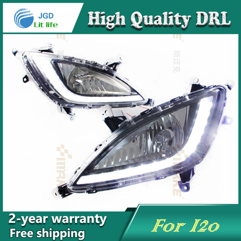 Free shipping !12V 6000k LED DRL Daytime running light case for Hyundai I20 2012 2013 fog lamp frame Fog light Car styling  набор инструмента hyundai k 20