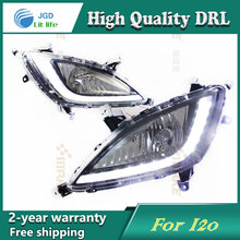 Free shipping 12V 6000k LED DRL Daytime running light case for Hyundai I20 2012 2013 fog