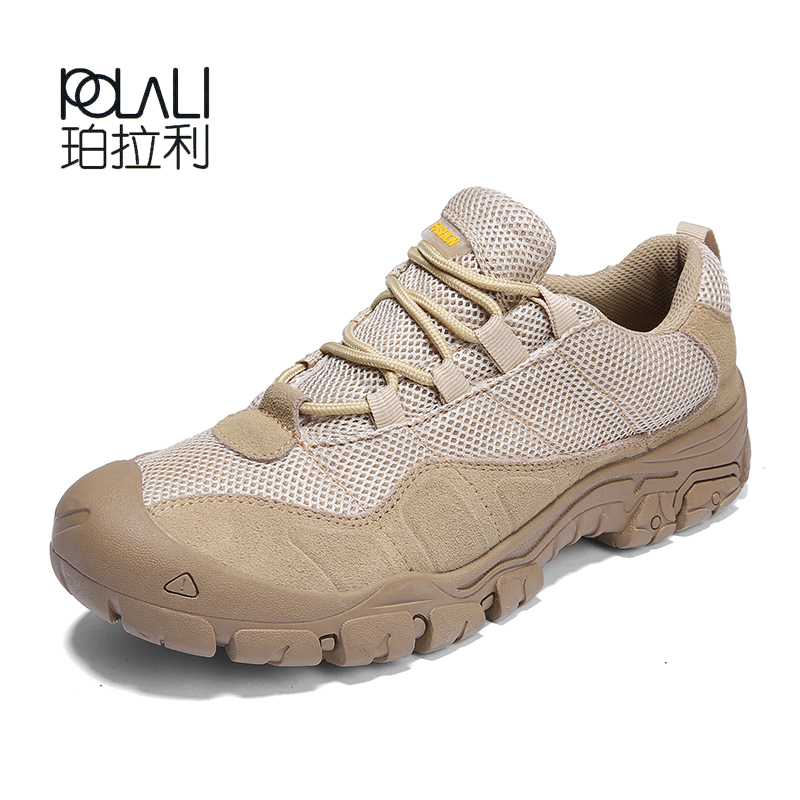 POLALI Men Hiking Shoes Man Brand Waterproof Cloth Tactical Boots Outdoor Athletic Hunting Trekking Camping Sport