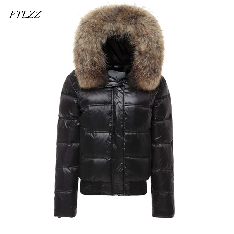 FTLZZ Real Raccoon Fur Winter Jacket Women Long Sleeve Slim White Duck Down Parkas Female Hooded Pockets Coat Outwear