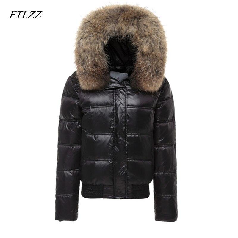 FTLZZ Real Raccoon Fur Winter Jacket Women Long Sleeve Slim White Duck   Down   Parkas Female Hooded Pockets   Coat   Outwear
