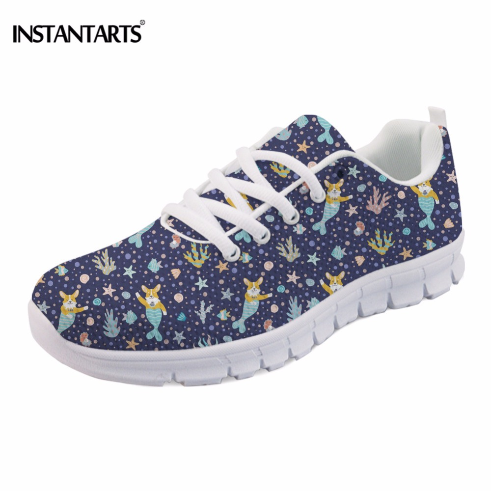 INSTANTARTS Funny Dog Corgi Mermaid Flower Print Women Flats Shoes Fashion Teens Girls Spring Mesh Flats Casual Female Sneakers instantarts casual women summer flat shoes cute dog alaskan malamute flower print female air mesh shoes fashion slip on sneakers