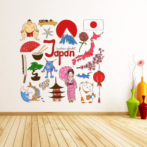 Japan Colorful Illustration Travel The Word Landmark Wall Sticker Wedding Decor Vinyl Waterproof Wallpaper
