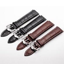 neway Genuine Leather Watch Band Wrist Strap 16 18mm 20mm 22mm 24mm Steel Buckle Replacement Bracelet Belt Men Women Black Brown