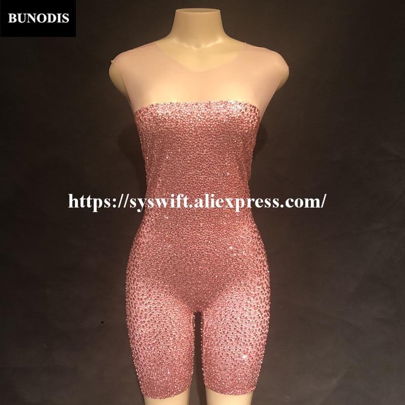 Fil Femmes Cristaux Discothèque Vente Costumes De Bling Shorts Chaude Sans Manches Body Sexy Net Fête Rose Bu32001 Sprakling Série ZXtw6q