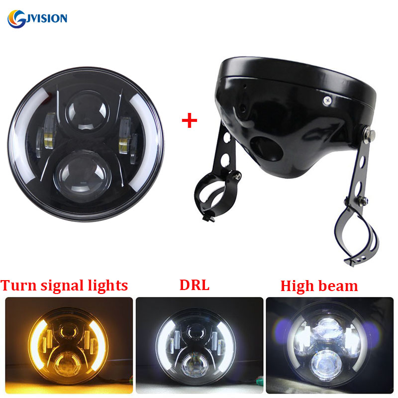 Moto Accessories 7 H4 LED Headlight housing Bracket 7 inch High/Low headlamp for Harley Chopper Cafe Racer Bobber Curisers