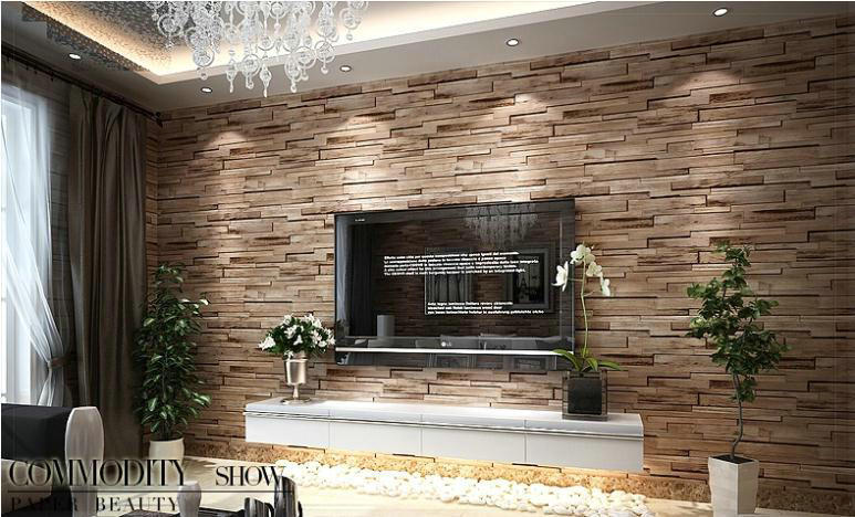2015 3d luxury wood blocks effect brown stone brick 10m - Wood effect wallpaper living room ...