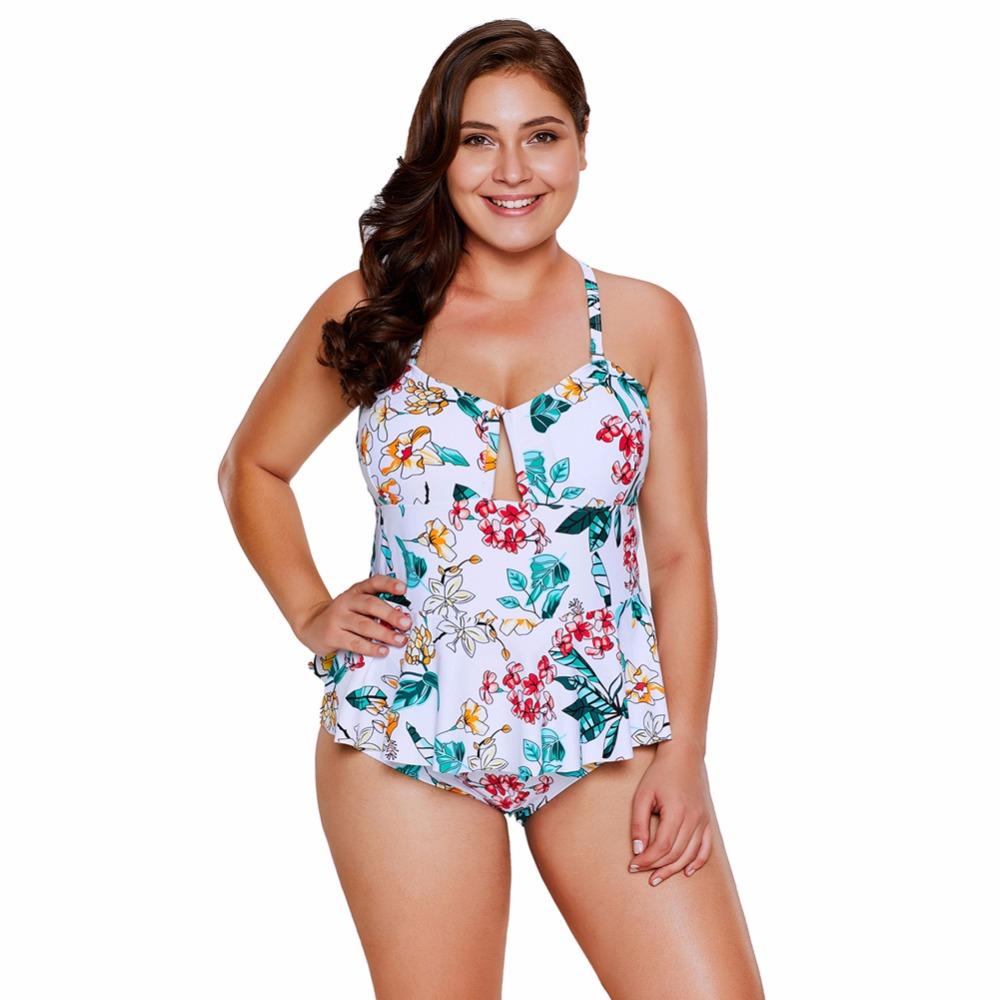 Tropical Floral Print Peplum Swimsuit swiming suit swimsuit solid sexy women bathing