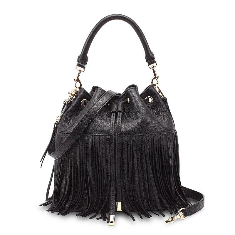 Klasyczne Tassel bag-Frędzlami skórzane wiadro Kobiet torebki torba na ramię pani krzyż ciała torby damskie moda urocze