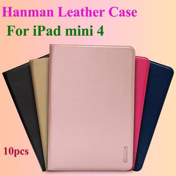 10pcs Hanman Flip Leather Case For iPad mini 4 Business Genuine Leather Wallet Card Slot Case Cover