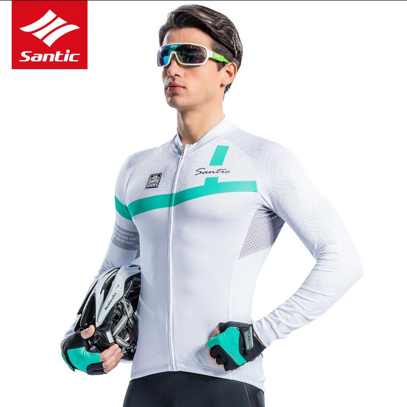 Santic Men Long Sleeve Cycling Jersey Pro Team MTB Road Bike Jersey Breathable Tour De France Bicycle Jersey Maillot Ciclismo
