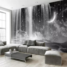 Black and white waterfall starry sky background professional production mural wholesale wallpaper poster photo wall