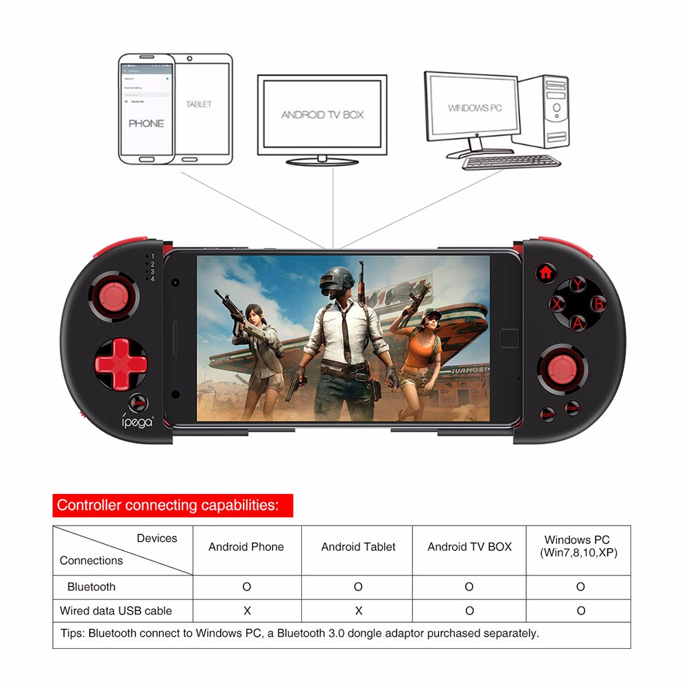 <font><b>iPEGA</b></font> PG - 9087 PG9087 Extendable Bluetooth Wireless Controller Gamepad Joystick for iOS Android Smartphones TV Box Windows image
