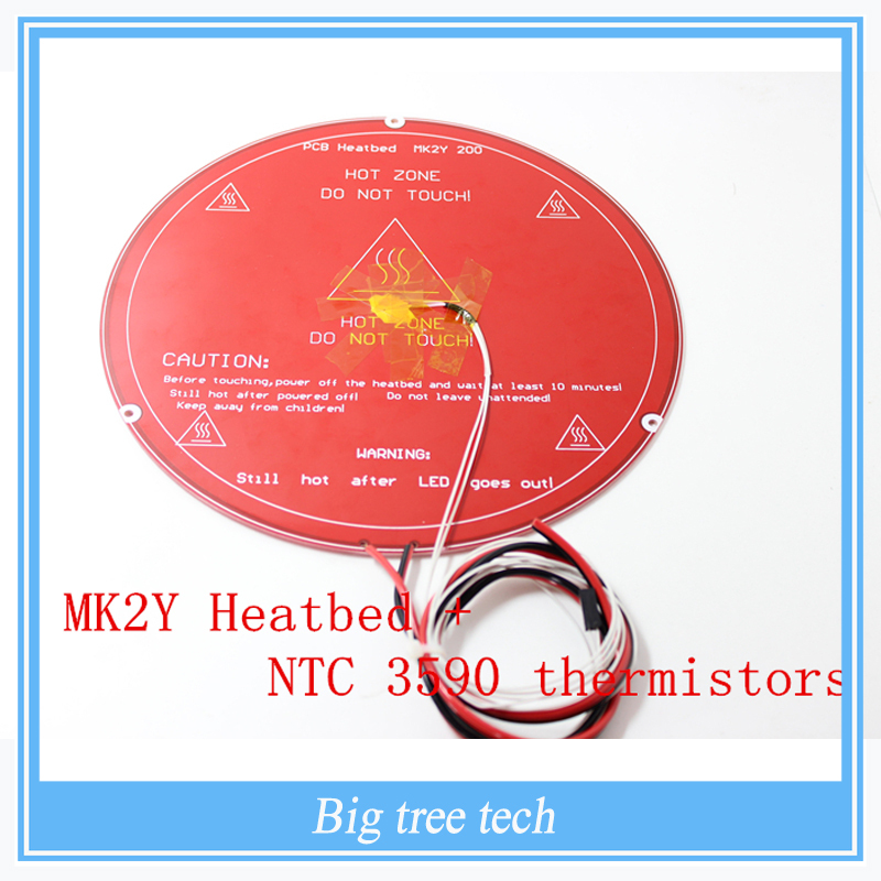3D Printer Parts PCB MK2Y Heatbed + Cable + NTC Thermistors with DuPont head Aluminum Heated Bed Diameter with high quality