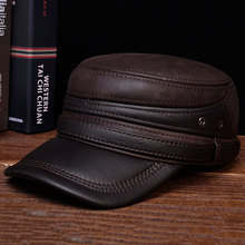 HL103  2018 brand new style winter warm Russian genuine leather baseball Men's real cow leather arny cap hats men genuine leather cowskin cap 100% leather russian winter warm baseball solid color fashion hats cs113