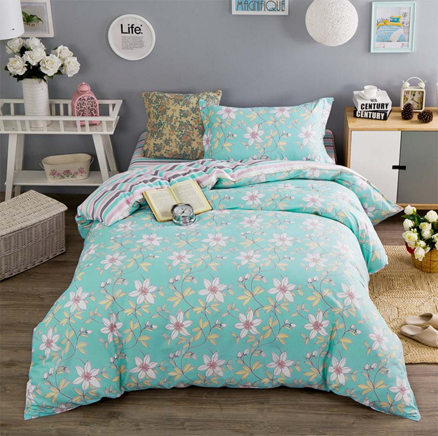 Blue and green bedding for teens - Trend Floral Bedding Set Teen Child Girl Twin Full Cotton Single Home Textiles Bed Sheet Quilt Cover Pillow Case