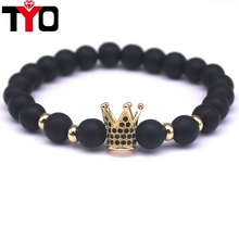 2016 New Trendy Black Bianshi Natural Stone Copper Cubic Zirconia Bracelets For Men And Women Gift Jewelry