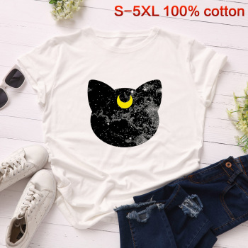 Sailor Moon T Shirt T-shirt Harajuku Summer 2019 cat Sweet Women 90S Ullzang Tshirt Female Top Tees Print cartoon Kawaii 0623-27