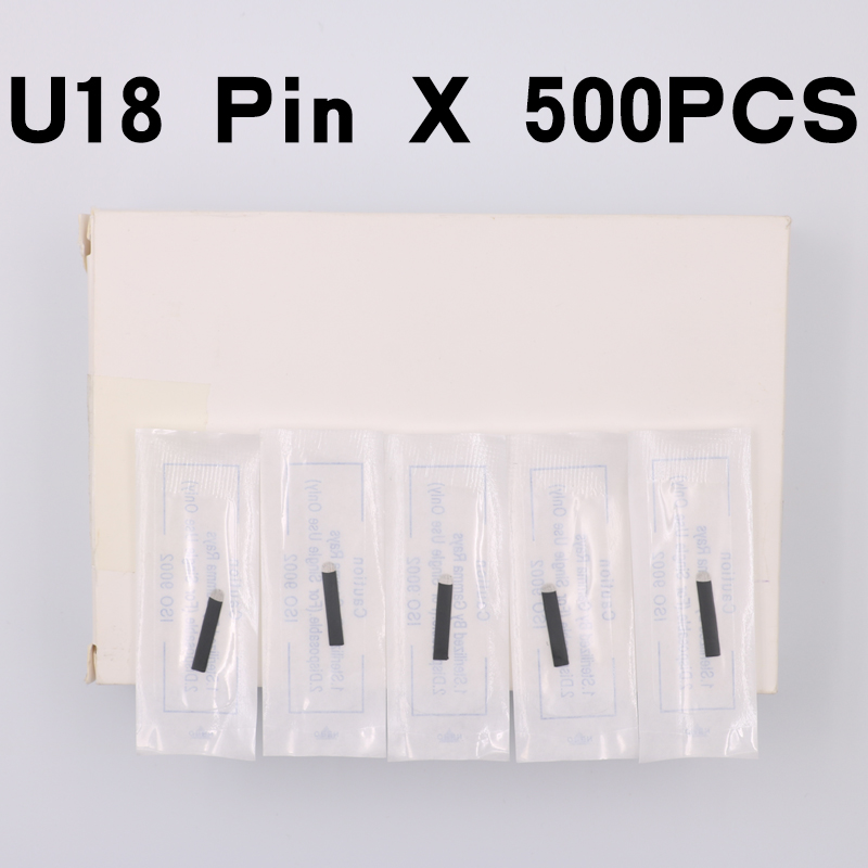 500pcs Black Microblading Needles 0.18mm U Shape 18 pins Blades Professional For Permanent Microblading Embroidery Pen Rated