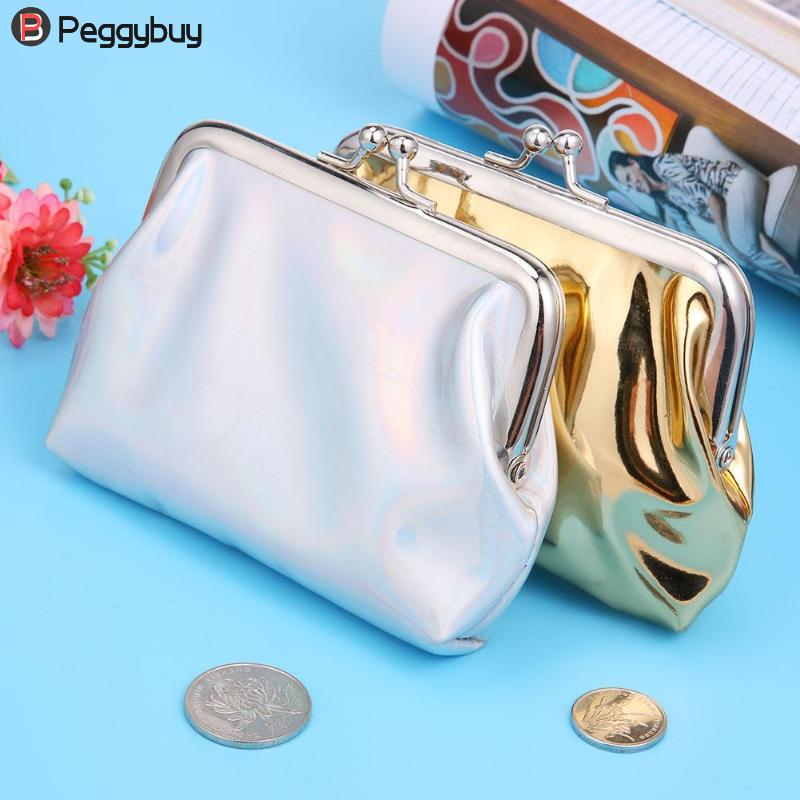 2018 Laser Patent Leather Holder Wallets Female Mini Coin Purse Ladies Party Clip Clutch ...
