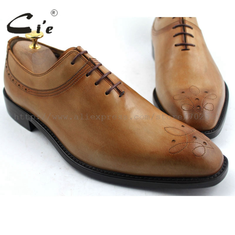 cie Free Shipping Square Toe Carvings Handmade Genuine Calf Leather Men's Oxford Lacing Shoe Color Brown No.OX194 adhesive craft стоимость