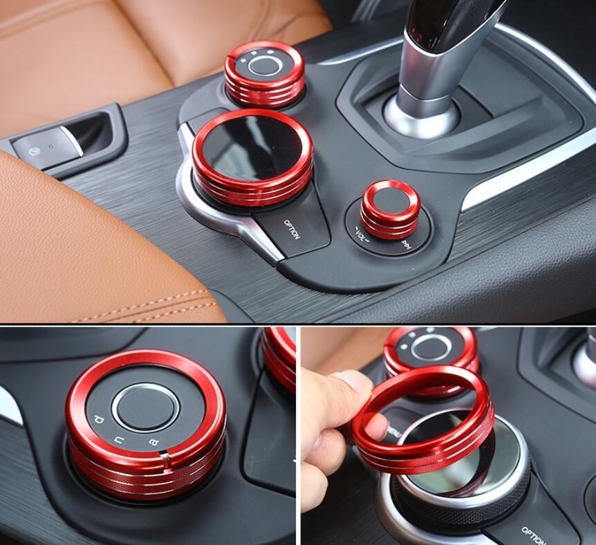 For Alfa Romeo Giulia Stelvio 2017 Aluminum Alloy Interior Center Control Multimedia Knob Ring Trim Set of 3pcs