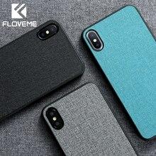 FLOVEME Retro Bez iphone için kılıf XR XS MAX X Klasik Iş Yumuşak Telefon iphone için kılıf 7 8 Artı 6 6 S Telefonu kapak Kılıfl...