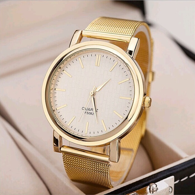 New Top Brand Luxury Quartz watch Casual men Gold quartz-watch stainless steel Mesh strap ultra thin clock male Relogio TEMPTER bgg brand creative two turntables dial women men watch stainless mesh boy girl casual quartz watch students watch relogio