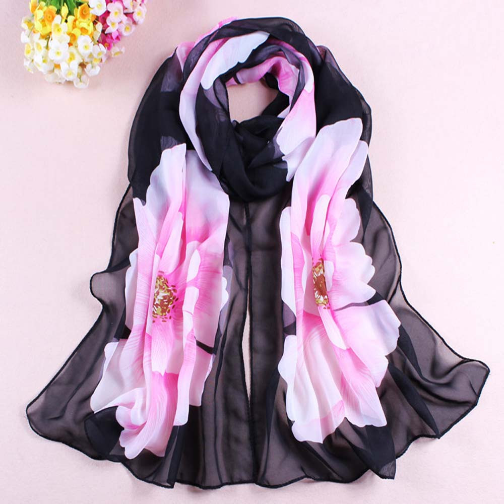 Silk Scarf Women Flower Printing Soft Chiffon Hijab Shawls And Scarves Lady Summer Beach Wrap Scarf Womens Freeshipping 30p1030