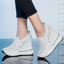 Punk Tennis Shoes Summer Sneakers Women Cow Leather Wedges High Heel Gladiator Sandals Breathable Platform Oxfords Casual Shoes dumoo 2018 new autumn shoes women sneakers cow leather breathable cotton casual shoes leisure female high heel 5cm women shoes