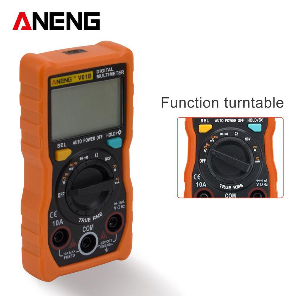 ANENG V01B NCV Digital LCD Multimeter AC/DC Voltmeter Ammeter True RMS Diode Resistence Frequency Tester Data Hold Auto Range