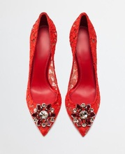 Sexy Red Heels Wedding Shoes Bride Crystal Buckle Pointed Toe Pumps Women Cut-out Lace Formale