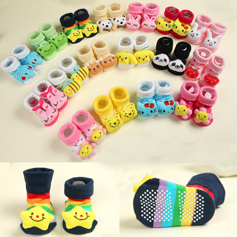 1 Pair Newborn Baby Socks Cotton Baby Toddler Socks For Newborns Gift Animal Lot Anti Slip With Rubber Soles For Child Boy Girl