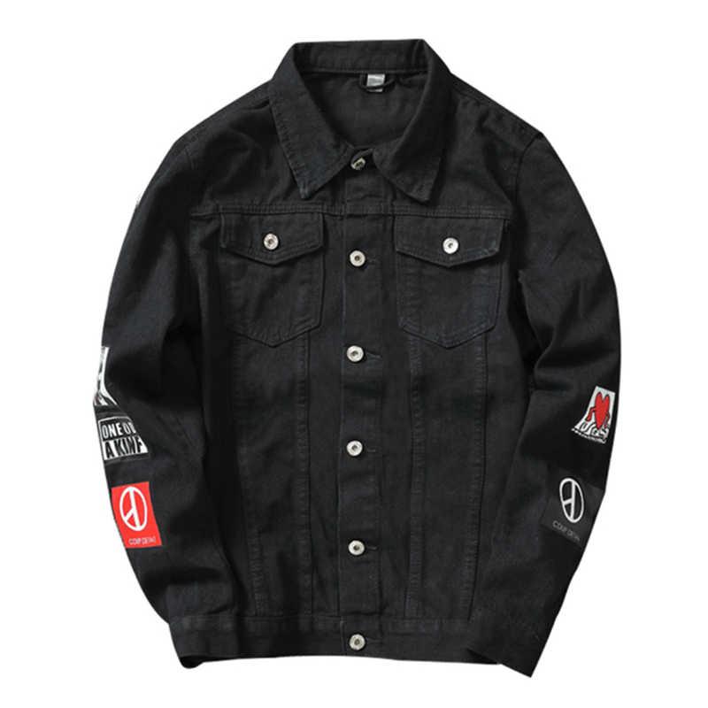 Mannen Streetwear Badge Gedrukt Jeans Jassen Mode Hip Hop Mannelijke Motorfiets Casual Slim Fit Denim Jas Bovenkleding Plus Size 5XL
