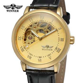 Moda zwycięzca Top marka złote zegarki męskie zegarki zegarki mechaniczne dla mężczyzn skórzany szkielet zegarki Montre Homme zegar tanie i dobre opinie T-WINNER Nie wodoodporne Klamra Moda casual Mechaniczna Ręka Wiatr 25cm Ze stopu Odporny na wstrząsy Odporne na wodę