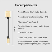 2 In 1 Type C To 3.5mm Jack Earphone Charging Converter USB Type-C