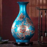 Цзиндэчжэнь Классический Фарфор со стразами, блестящий цветок ваза украшение для дома Большой Сияющий семьи вазы для роз свадебные подарки