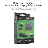Schwarz Dual Dock Ladestation Basis mit 2x Wiederaufladbare Batterien Lade AC Ladegerät für Xbox Einem Controller Spielen Ladegerät