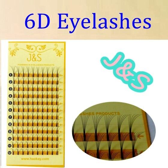 J&S 5trays/lot Wholesale  Korea 0.07 Silk Soft Exclusive Individual Imitation Mink Lashes 6D fans Eyelash Extension Soft Natural
