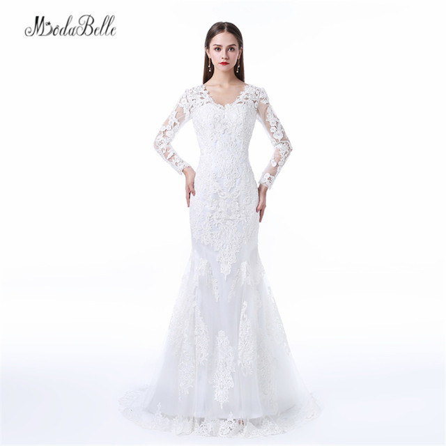 Modabelle 2017 Plus Size Wedding Dresses Mermaid Style Long Sleeve Bridal  Dress Beach Lace Wedding Gowns