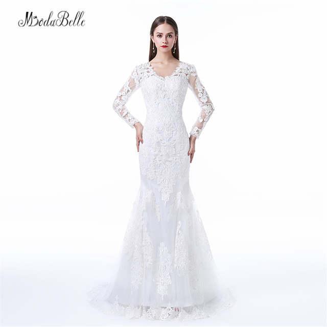 bb1f8d868cedd Online Shop Modabelle 2017 Plus Size Wedding Dresses Mermaid Style Long  Sleeve Bridal Dress Beach Lace Wedding Gowns Vestido Noiva Simples