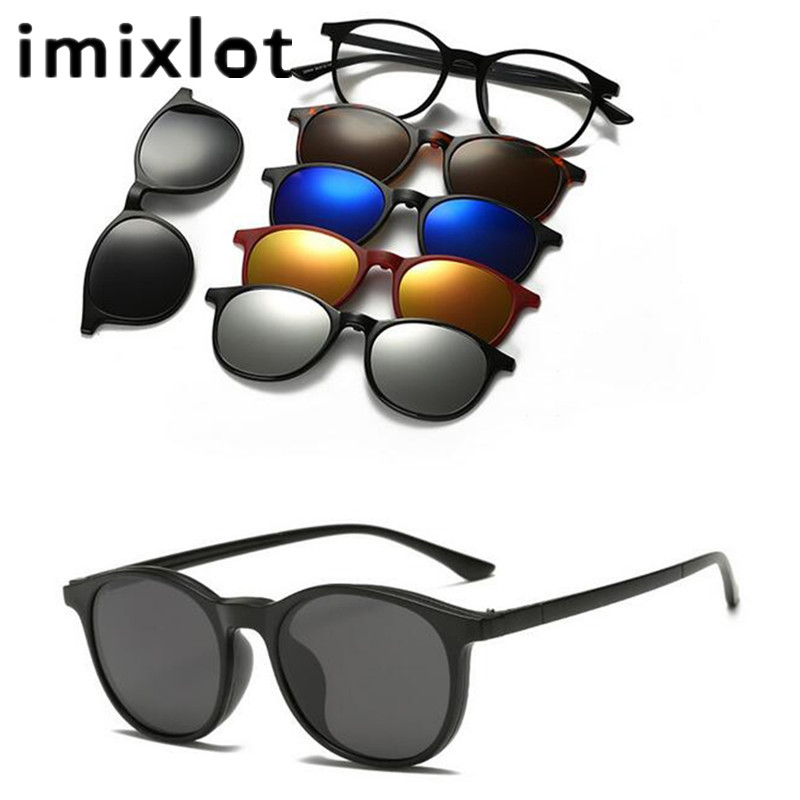 IMIXLOT 5 Lens Magnetic Sunglasses Clip Mirrored Clip on Sunglasses Men Polarized Clips Prescripción personalizada Miopía
