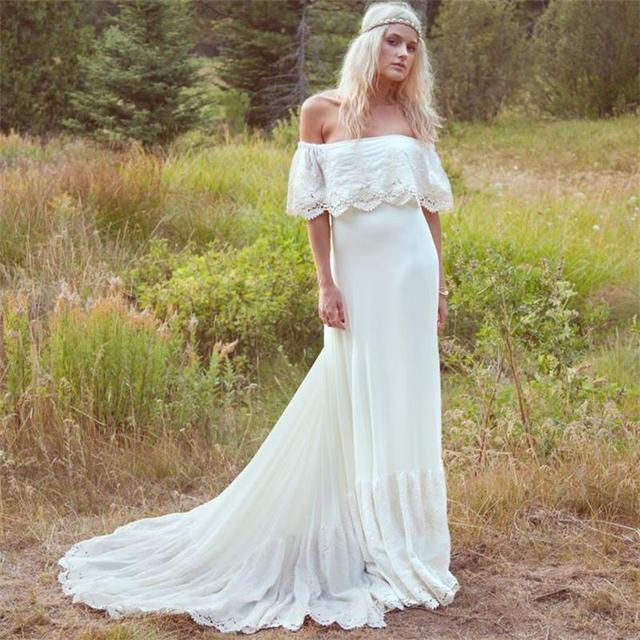 2b24c05fc3 2016 Wedding Dresses Cream Ivory Off The Shoulder Lace Edge Chiffon Vintage/Beach  Wedding Gowns Long Bride Dress