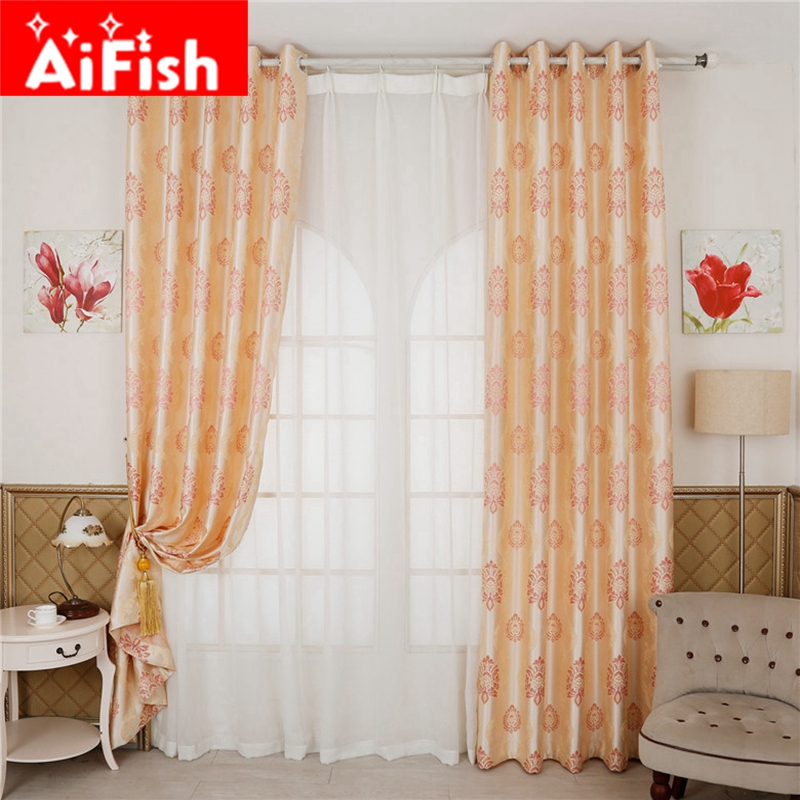 highgrade soundproof semishade fabric curtains for living room european white tulle gold