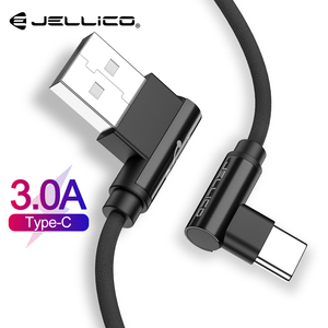 Jellico Type-C 90 Degree Fast Charging USB C Cable L Shape Data Cord Charger For Samsung S8 S9 Plus Xiaomi mi5 mi6 Huawei P10 P9(China)